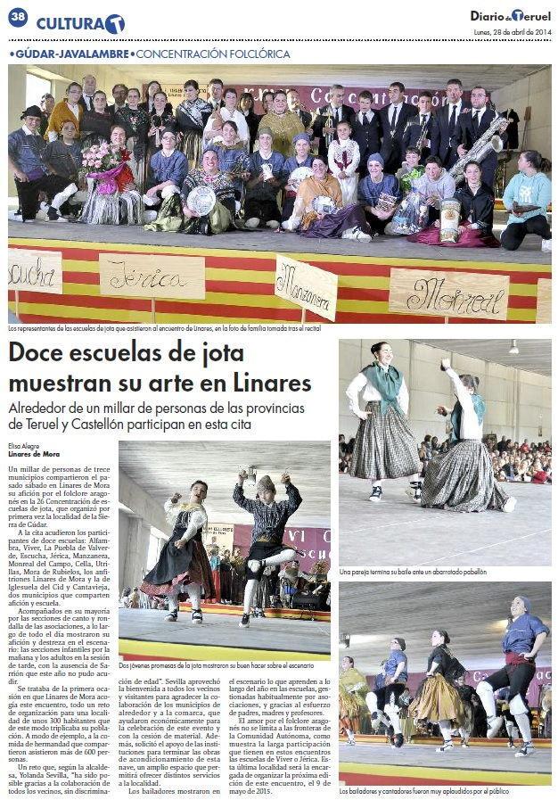 Noticia sobre la Concentración de Escuelas de Jota en el Diario de Teruel