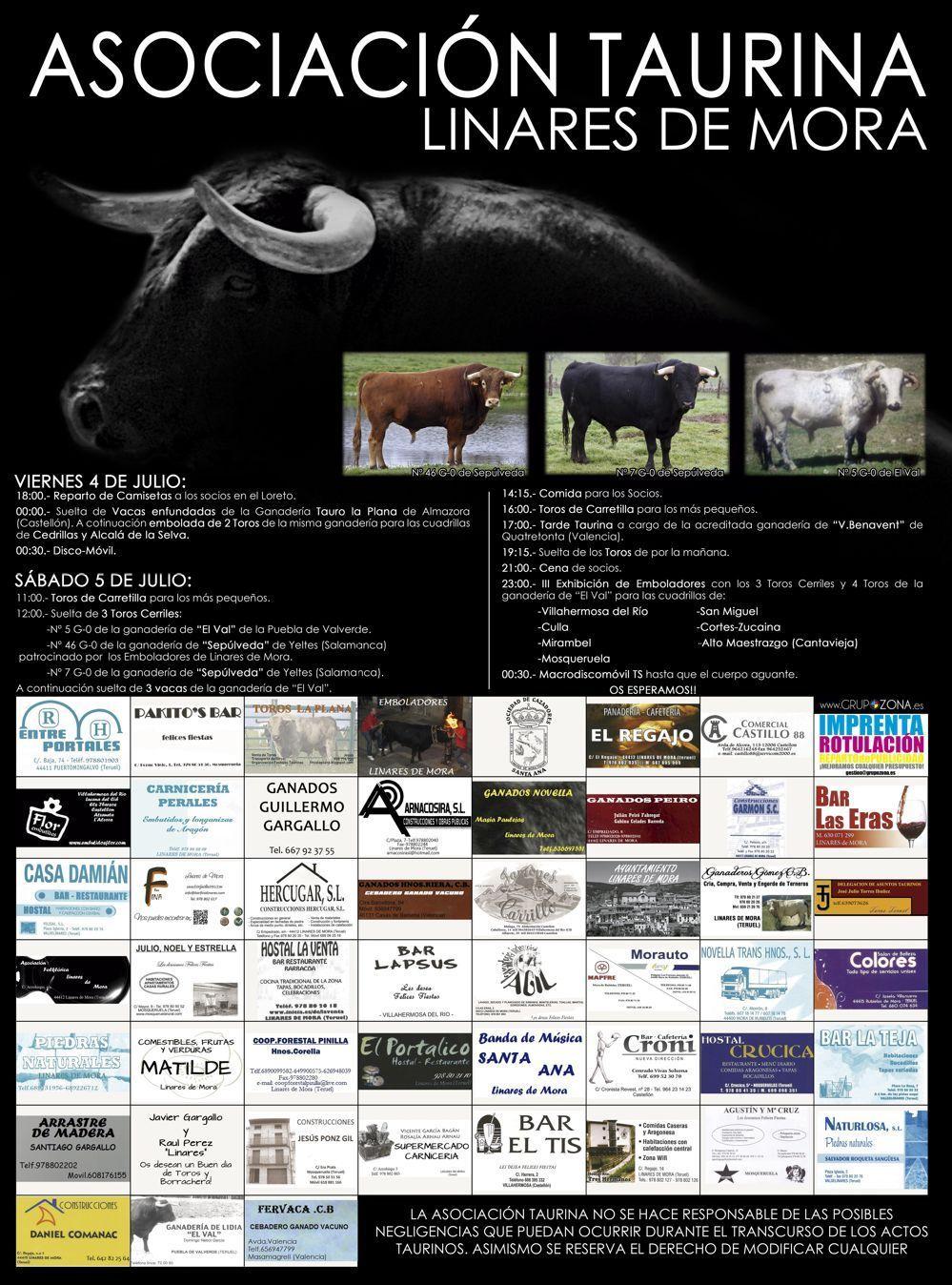 Programa de la fiesta de la Asociación Taurina de Linares de Mora 2014