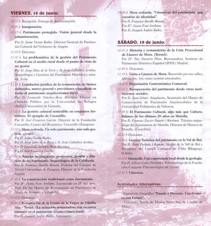 Programa jornadas de Patrimonio 2004