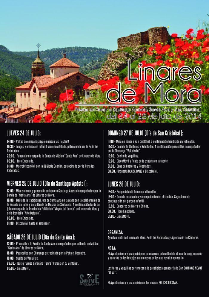 Programa de actos Fiestas Patronales Linares de Mora 2014