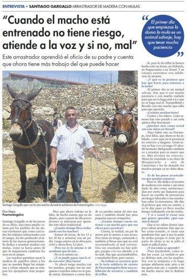 Entrevista a Santiago Gargallo en el Diario de Teruel